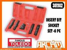 TOLEDO 301982 - INSERT BIT SOCKET SET HEX METRIC - 6 PC - FASTENERS HEX END