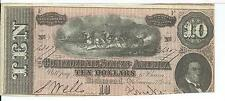 CSA 1864 Confederate Currency T68 $10 Note Horses pull Cannon Caisson #13079