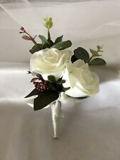 Off White Rose Wedding Bridal Wedding Flower Dress Corsage Or Double Buttonhole