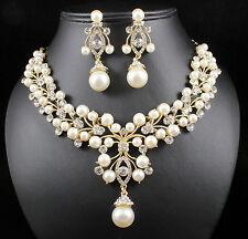 Pearl Cluster Austrian Rhinestone Crystal Necklace Earrings Set Bridal Prom N818