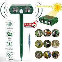 Outdoor Solar Ultrasonic Power Pest Animal Repeller Repellent Garden Cat Dog Pet