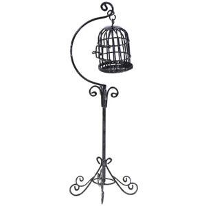 1:12 Dollhouse Mini Metal Bird Cage Model With Bracket Miniature Decor F2