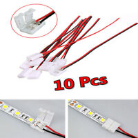 Function 10Pcs LED Strip Connector Adapter PCB Cable 2Pin 3528/5050 Single Color