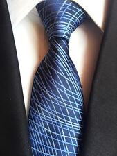 162KT luxury men's 100% silk neck tie blue geometric stripes wedding party ties