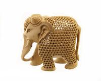 Estatua Elefante Madera Escultura Indienne D'Art De Encaje Obra Única 7240