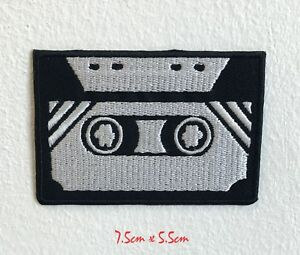Old Cassette Black and White 80s 90s music Embroidered Iron Sew on Patch #1592