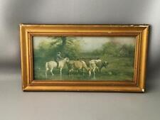 Antique Vtg 1900 Chandler Cowboy Cows Print w Gold Wood & Gesso Picture Frame