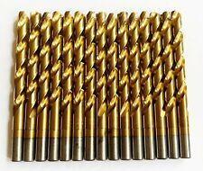 "15 CRAFTSMAN TITANIUM 25/64"" HIGH SPEED STEEL DRILL BITS SPLIT POINT METAL GOLD"