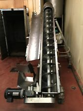 "CONVEYOR AUGER INCLINE 13' X 9"" DIAM. USDA STAINLESS STEEL INFEED HOPPER 617C"