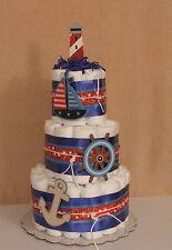 3 Tier Diaper Cake Baby Shower Centerpiece Nautical, Ahoy Mates Sail Away Theme