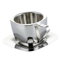 3 Sizes Stainless Steel Coffee Cup And Saucer Set Double Wall Coffee Tea Mug