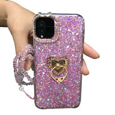 For LG Stylo6 5 iPhone11Pro MAX Bling Glitter Diamond Ring Stand Soft Case Cover