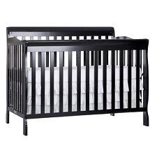 Ashton 5 in 1 Fixed Side Convertible Crib Full Size Wood Baby Bed Black White