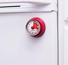 Kikkerland Magnetic Red Kitchen Wind Up Egg Timer 60 Minute Countdown Manual