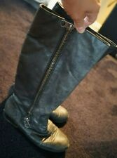 Mixer leather uppper gray distressed boot with zipper