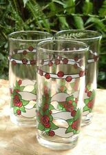 Retro ITALY (3 Pc) ROSES TUMBLER GLASSES Bar Kitchen Entertaining VG - In Aust