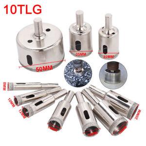 10 Tlg. Diamant Glasschneider Kern Glas Bohrer Diamant-Lochsäge Fliesen 8mm-50mm