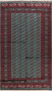 300 Knots TEAL GREEN Traditional Handmade Area Rug All-Over Oriental Carpet 6x9