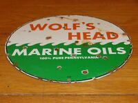 """VINTAGE """"WOLF'S HEAD MARINE OIL"""" 11 3/4"""" PORCELAIN METAL OUTBOARD GASOLINE SIGN!"""
