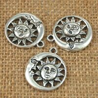 10pcs Moon and Sun Charm Pendants Antique Silver Tone Jewelry Making Accessories