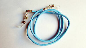 Light blue leather Eye / sun Glasses Necklace / Lanyard