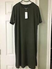 PL  NWT Eileen Fisher Oregano Viscose Jersey Scoop Neck Calf Lenght Dress