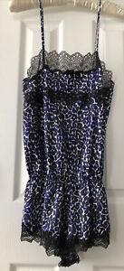 Victoria's Secret Purple & Black Satin Leapord Print Teddy P/S