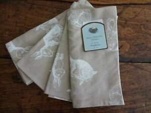 Well Dressed Home NATURAL Beige WHITE Bunny RABBIT SPRING Easter NAPKINS 4PC