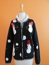 Karen Scott Size M Black Sequin Snowman Holiday Christmas Cardigan Sweater