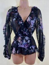 BNWOT LIPSY black floral print sparkly chiffon ruffle trim wrap blouse size 8 36