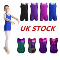 UK Kids Girls Gymnastics Dance Leotards Ballet Fish Scales Jumpsuits Dancewear