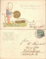 Zwerg Glückwunsch - Neujahr/Sylvester Goldmünzen 1904 Goldrand/Prägekarte
