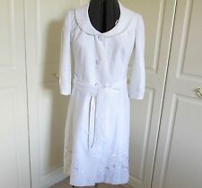 Per Una beautiful 100% linen bright white lined 3/4 sleeve occasion coat size 12