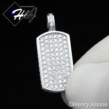 925 STERLING SILVER LAB DIAMOND ICED OUT BLING SMALL DOG TAG CHARM PENDANT*SP56