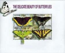 MODERN GEMS - Sierra Leone - Delicate Beauty of Butterflies - Sheet of 4 - MNH