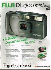 Publicité Advertising 1990 Appareil photo Fuji DL-500 Mini Wide