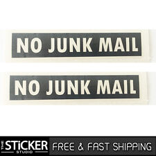 2 x NO JUNK MAIL #2 Sticker Vinyl Gloss Black With Avery for your letterbox