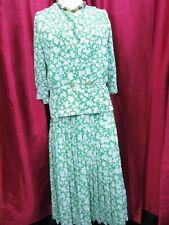 Berkertex Occasions Green & White Floral Top Blouse  & Skirt 3 Piece Set UK 16