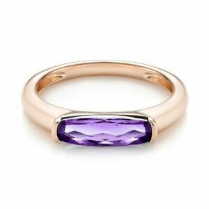 4 Ct Cushion Cut Purple Amethyst Channel Set Solitaire Ring Rose Gold Fns Silver