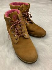 Timberland Boots Women Size 8.5 Wheat Brown & Pink Emblem Lining Laces Preloved