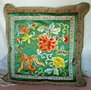 CHINESE SILK PEONY FLORAL BUTTERFLY EMBROIDER GREEN SATIN GOLD DECORATIVE PILLOW