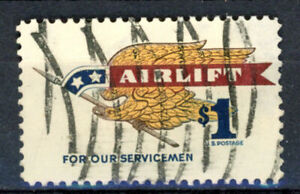 SCOTT # 1341 - USED $1.00 AIRLIFT FOR SERVICEMEN STAMP - F   (IN FINE CONDITION)