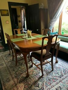 Queen Anne Solid Walnut Dining Table--Clawed Feet; Leaves; Matching Chairs