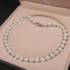 Weiße Collier Perlenkette Perlen Halskette 10mm Muschelkernperlen AAA geknotet