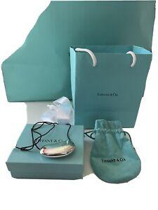 Tiffany & Co. Elsa Peretti 925 Sterling Silver Bean Pendant on Black Silk Cord