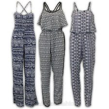 Ladies Jumpsuit Womens Tribal Aztec Print Playsuit Sleeveless Strappy Summer New