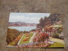 J Salmon postcard - Gardens scene Llandudno - Artist A.R Quinton