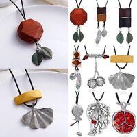 Women Long Tibetan Silver Pendant Necklace Bead Charm Rope Sweater Chain Jewelry