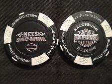 "Harley Davidson Poker Chip (NEW STYLE Black & White) ""Nees"" Galesburg, Illinois"