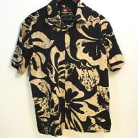 Quiksilver Hawaiian Button Shirt Black And Beige Large Mens
